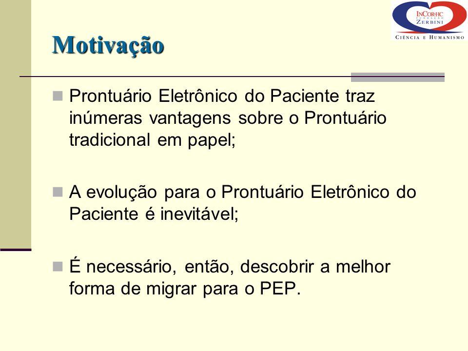 Motivação Prontuário Eletrônico do Paciente traz inúmeras vantagens sobre o Prontuário tradicional em papel;