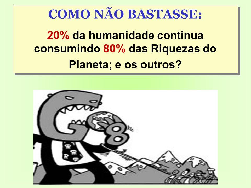 COMO NÃO BASTASSE: 20% da humanidade continua consumindo 80% das Riquezas do Planeta; e os outros