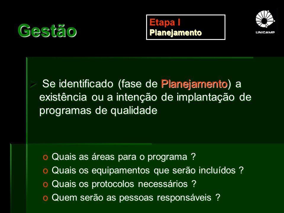 Gestão Etapa I Planejamento. Se identificado (fase de Planejamento) a existência ou a intenção de implantação de programas de qualidade.