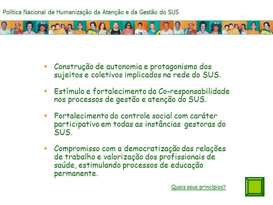 Construção de autonomia e protagonismo dos sujeitos e coletivos implicados na rede do SUS.