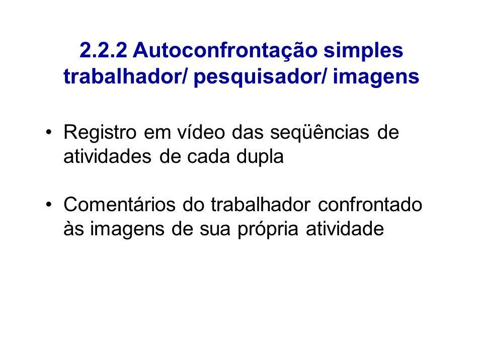 2.2.2 Autoconfrontação simples trabalhador/ pesquisador/ imagens