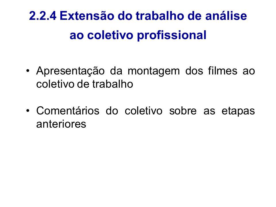 2.2.4 Extensão do trabalho de análise ao coletivo profissional