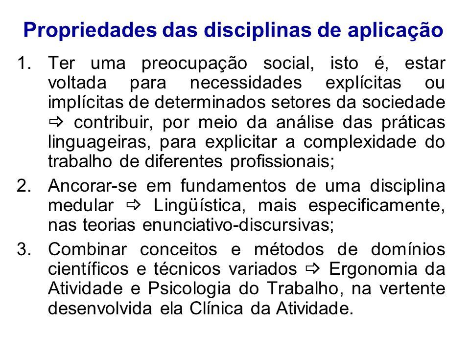 Propriedades das disciplinas de aplicação