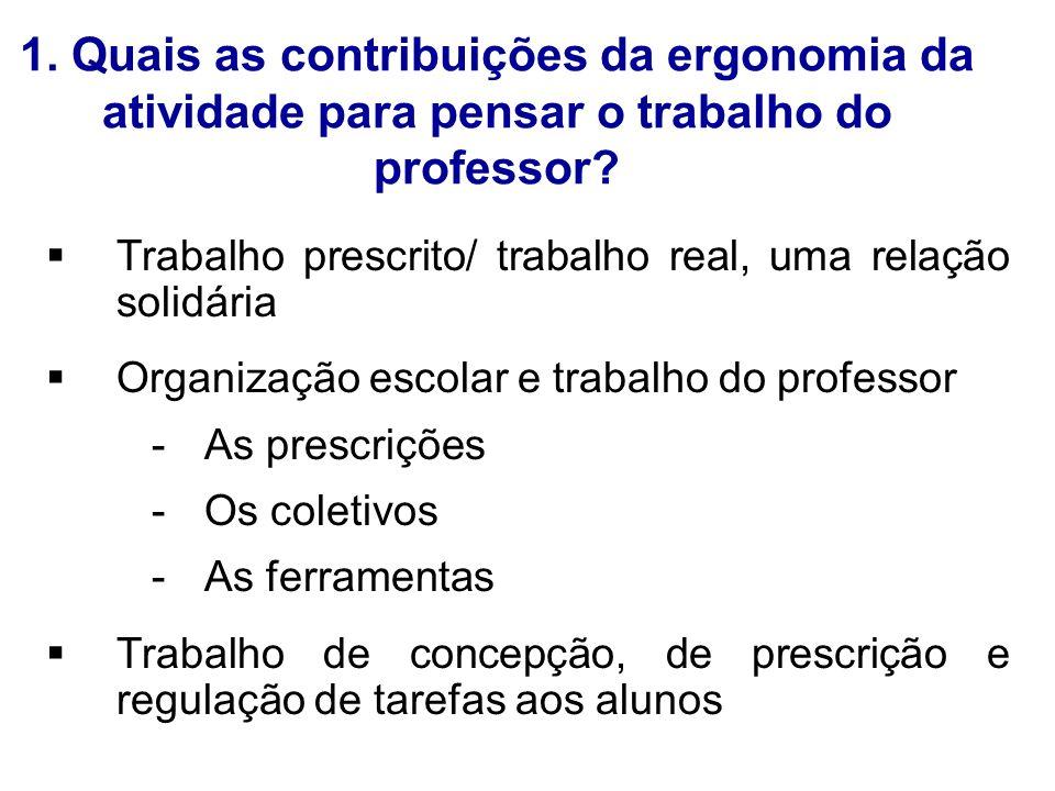 1. Quais as contribuições da ergonomia da atividade para pensar o trabalho do professor