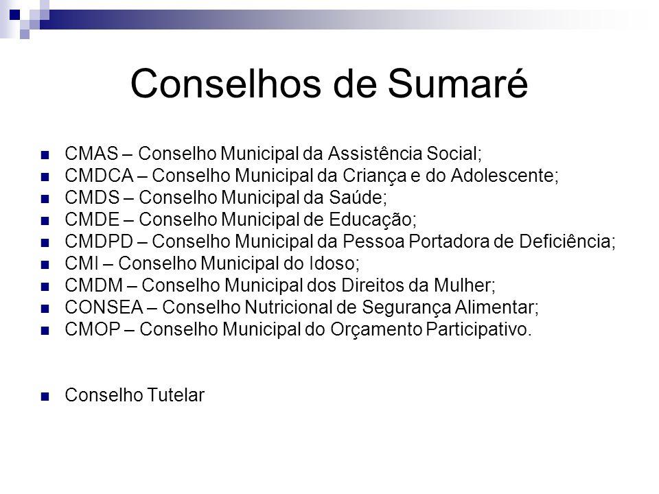 Conselhos de Sumaré CMAS – Conselho Municipal da Assistência Social;