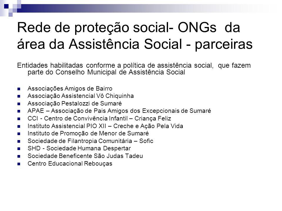 Rede de proteção social- ONGs da área da Assistência Social - parceiras