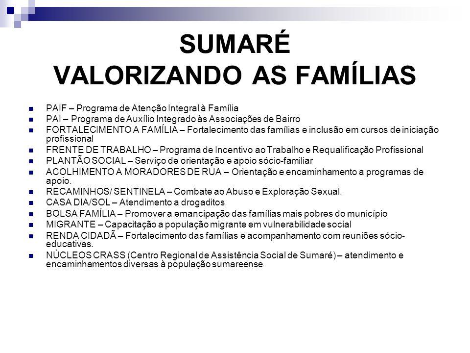 SUMARÉ VALORIZANDO AS FAMÍLIAS