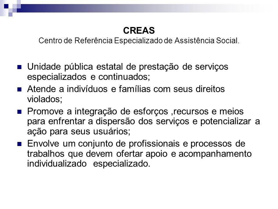 CREAS Centro de Referência Especializado de Assistência Social.