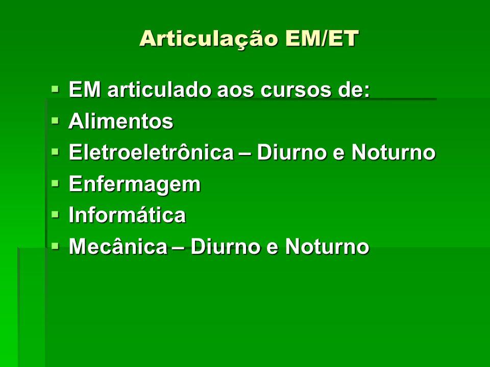 Articulação EM/ET EM articulado aos cursos de: Alimentos. Eletroeletrônica – Diurno e Noturno. Enfermagem.