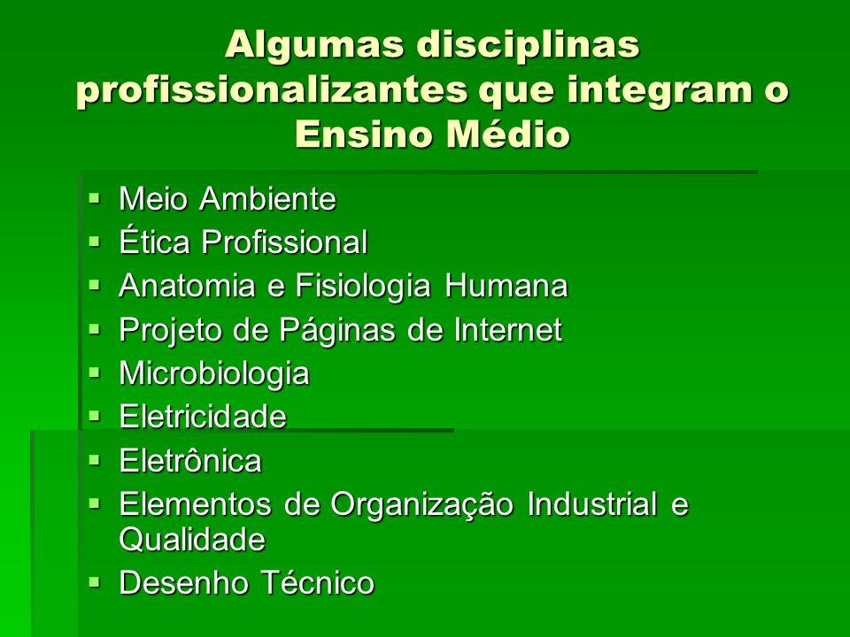 Algumas disciplinas profissionalizantes que integram o Ensino Médio