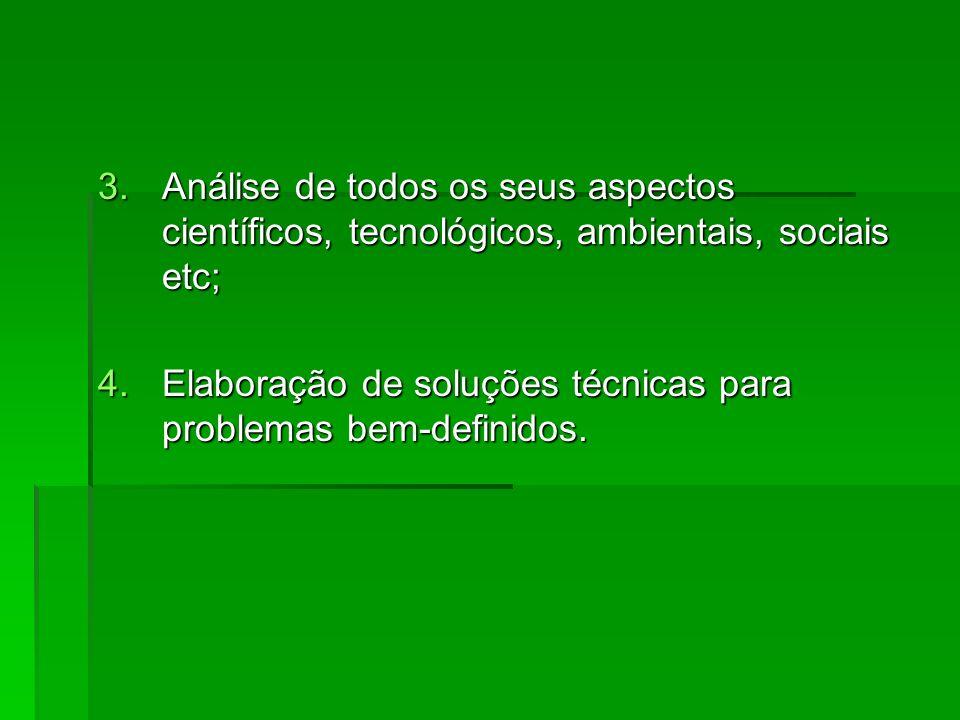 Análise de todos os seus aspectos científicos, tecnológicos, ambientais, sociais etc;
