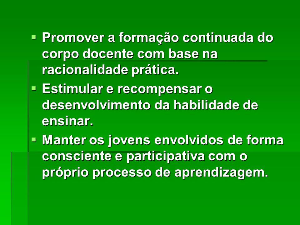 Promover a formação continuada do corpo docente com base na racionalidade prática.