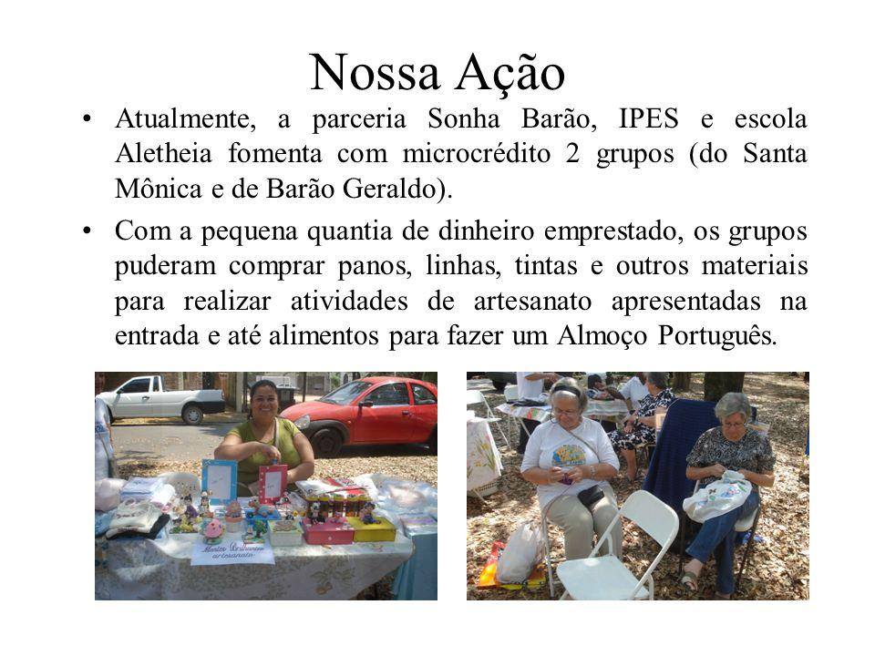 Nossa Ação Atualmente, a parceria Sonha Barão, IPES e escola Aletheia fomenta com microcrédito 2 grupos (do Santa Mônica e de Barão Geraldo).