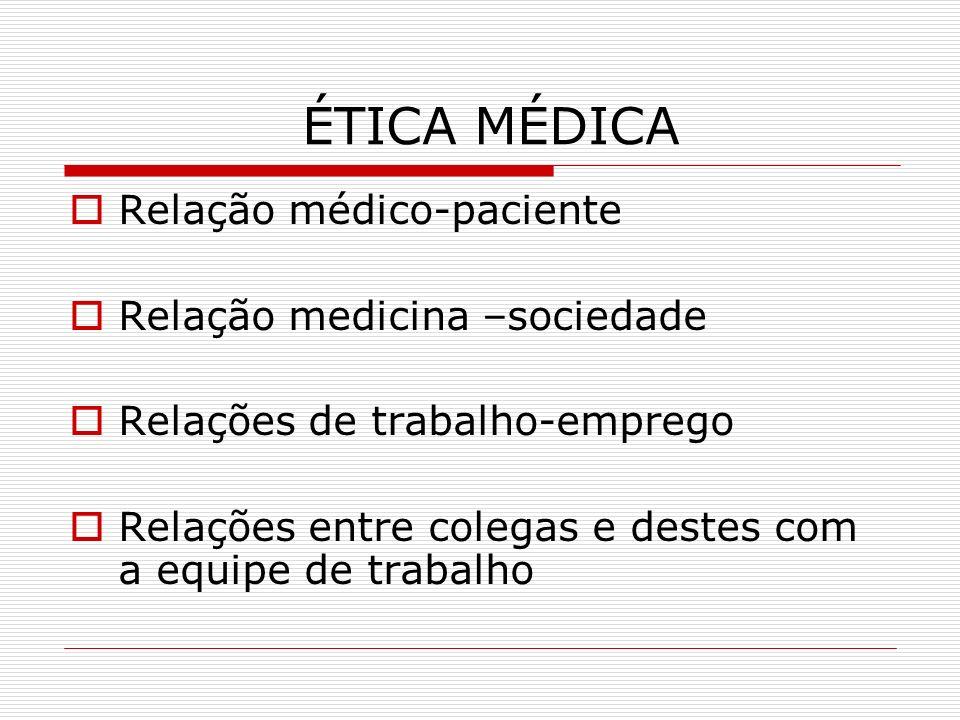 ÉTICA MÉDICA Relação médico-paciente Relação medicina –sociedade