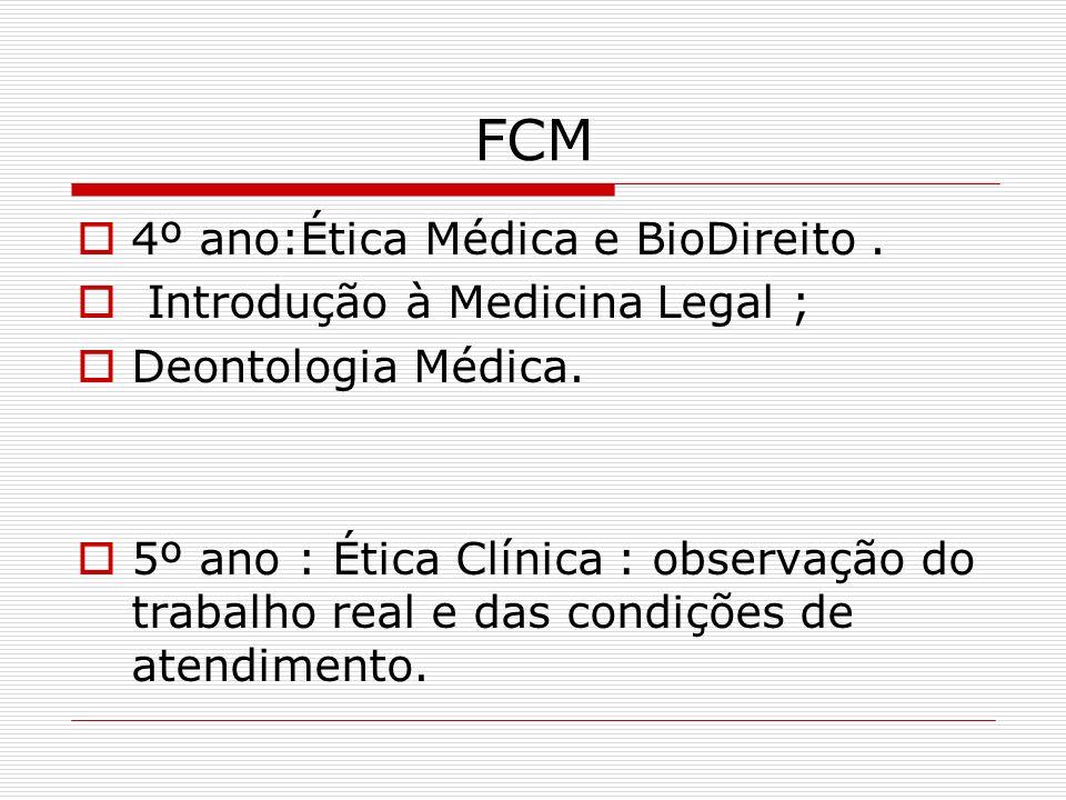 FCM 4º ano:Ética Médica e BioDireito . Introdução à Medicina Legal ;