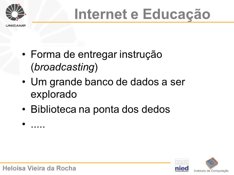 Internet e Educação Forma de entregar instrução (broadcasting)