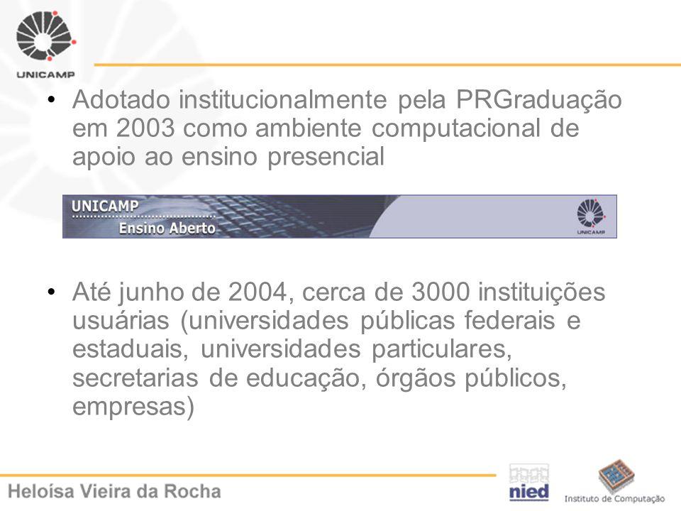 Adotado institucionalmente pela PRGraduação em 2003 como ambiente computacional de apoio ao ensino presencial