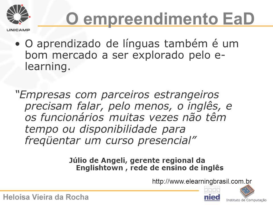 O empreendimento EaD O aprendizado de línguas também é um bom mercado a ser explorado pelo e-learning.