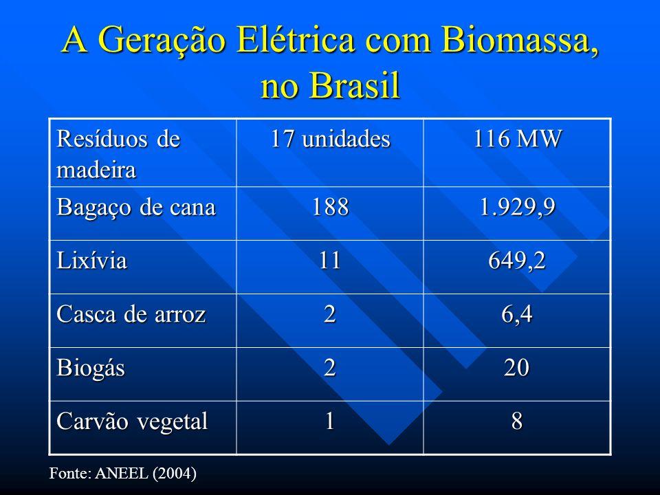 A Geração Elétrica com Biomassa, no Brasil