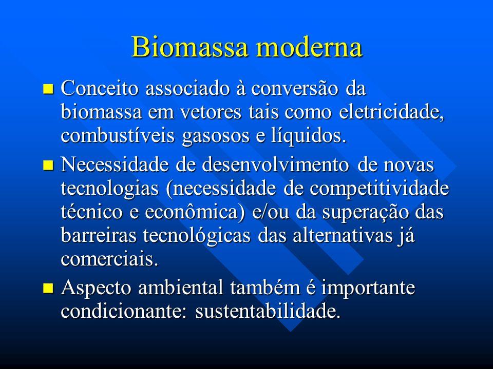Biomassa moderna Conceito associado à conversão da biomassa em vetores tais como eletricidade, combustíveis gasosos e líquidos.