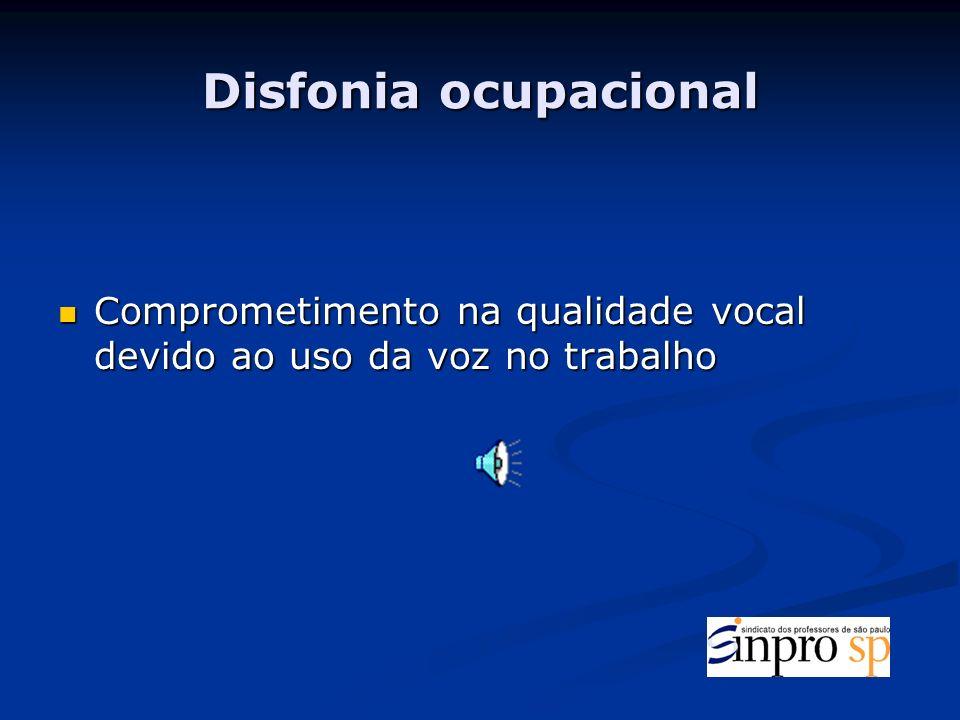 Disfonia ocupacional Comprometimento na qualidade vocal devido ao uso da voz no trabalho