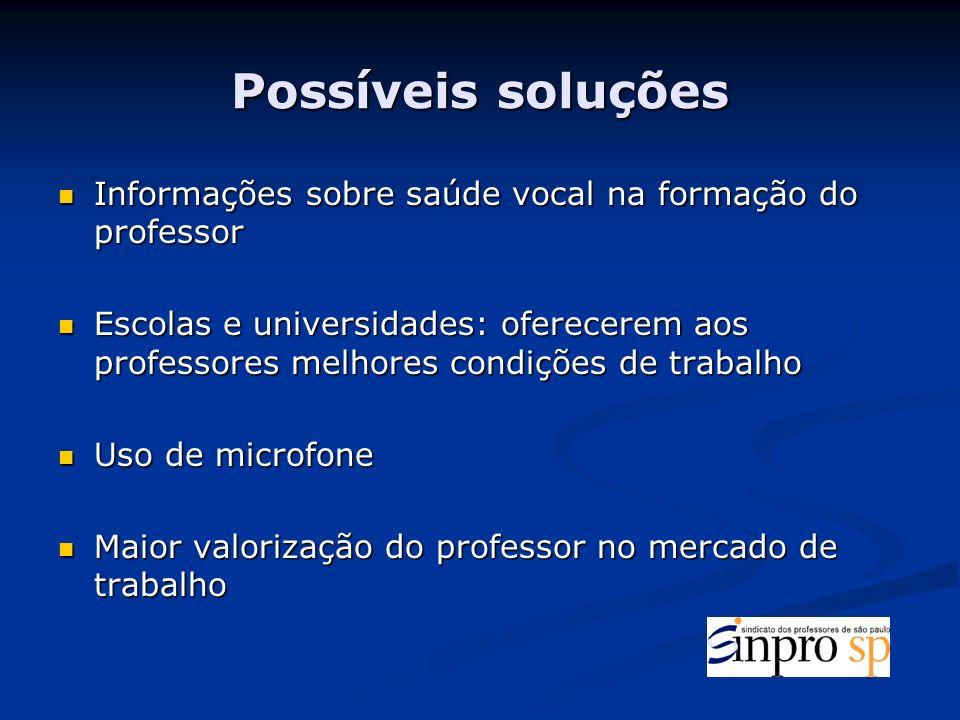 Possíveis soluções Informações sobre saúde vocal na formação do professor.