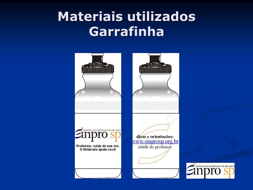 Materiais utilizados Garrafinha