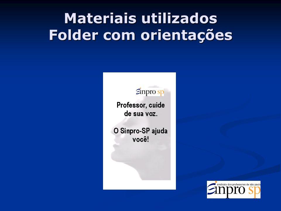 Materiais utilizados Folder com orientações