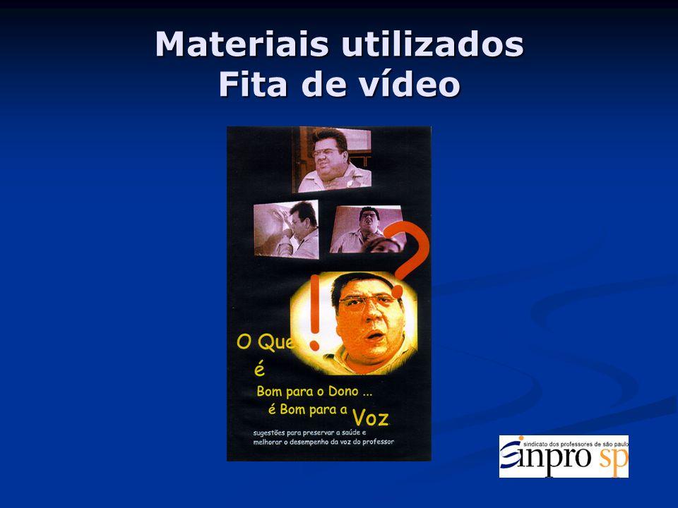 Materiais utilizados Fita de vídeo