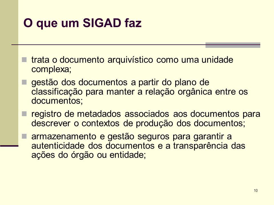 O que um SIGAD faz trata o documento arquivístico como uma unidade complexa;