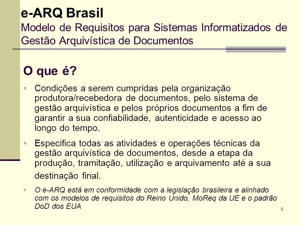 e-ARQ Brasil Modelo de Requisitos para Sistemas Informatizados de Gestão Arquivística de Documentos