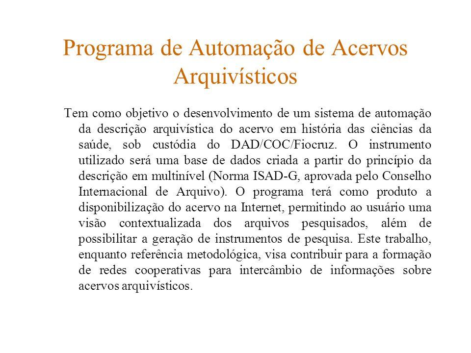 Programa de Automação de Acervos Arquivísticos