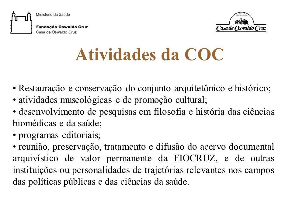 Atividades da COC Restauração e conservação do conjunto arquitetônico e histórico; atividades museológicas e de promoção cultural;