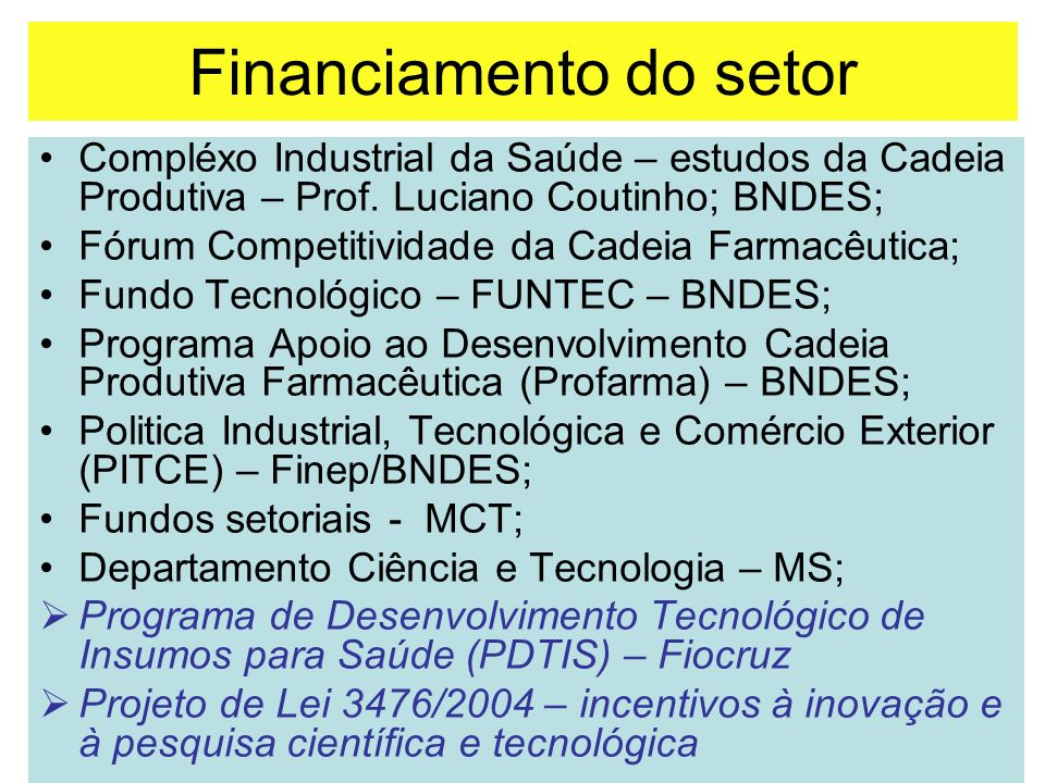 Financiamento do setor
