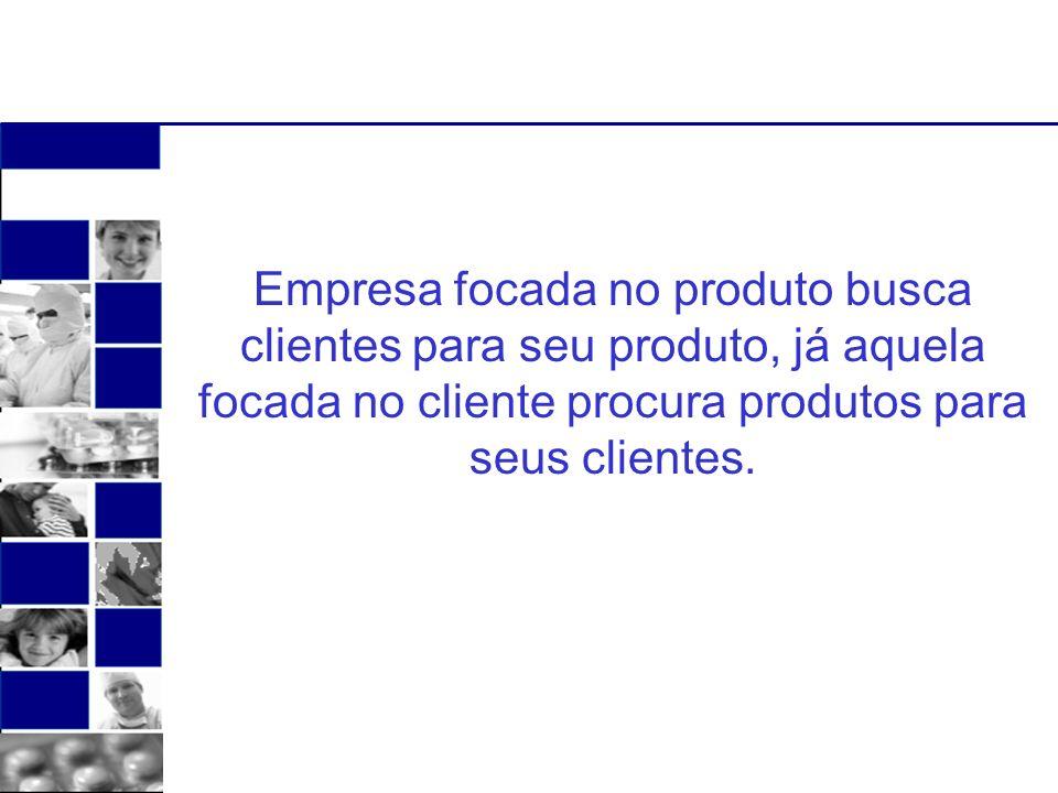 Empresa focada no produto busca clientes para seu produto, já aquela focada no cliente procura produtos para seus clientes.