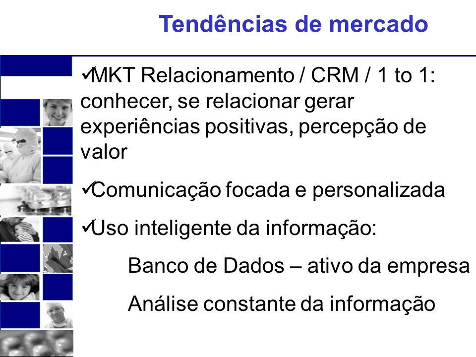 Tendências de mercado MKT Relacionamento / CRM / 1 to 1: conhecer, se relacionar gerar experiências positivas, percepção de valor.