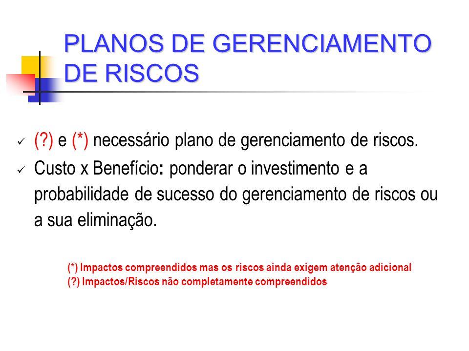 PLANOS DE GERENCIAMENTO DE RISCOS
