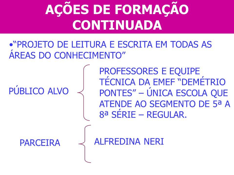 AÇÕES DE FORMAÇÃO CONTINUADA