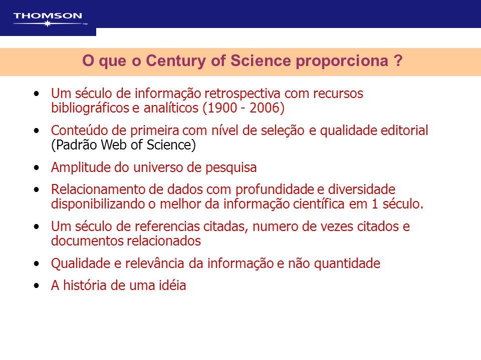 O que o Century of Science proporciona