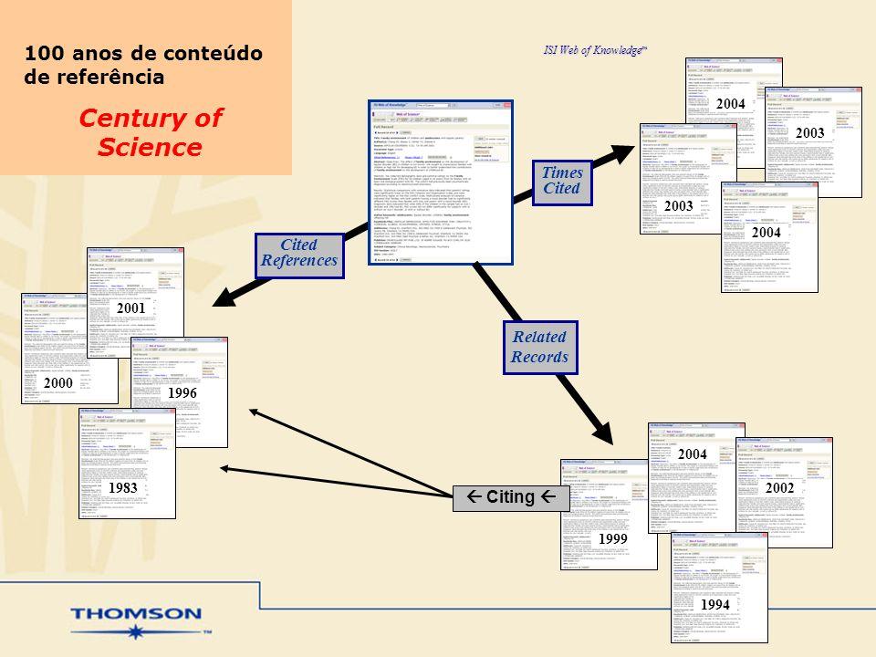 Century of Science 100 anos de conteúdo de referência Times Cited