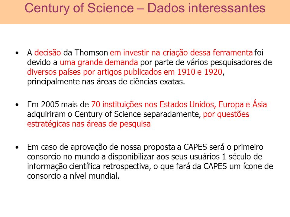 Century of Science – Dados interessantes