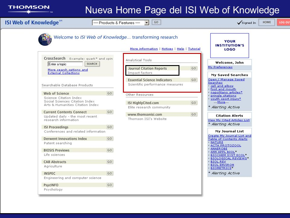 Nueva Home Page del ISI Web of Knowledge