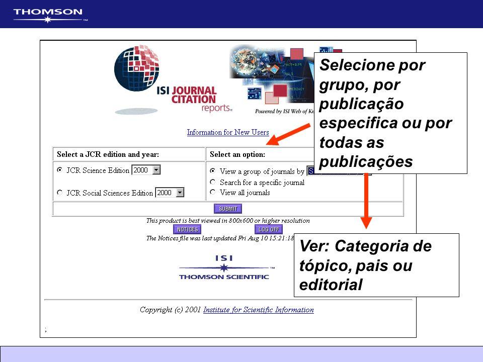 Selecione por grupo, por publicação especifica ou por todas as publicações
