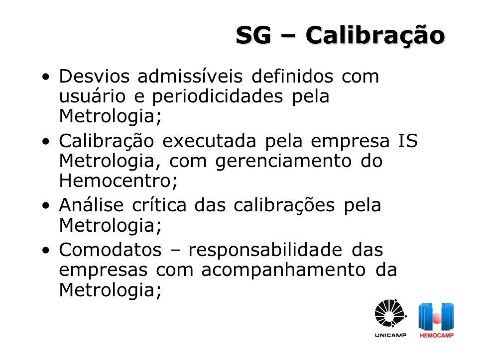 SG – Calibração Desvios admissíveis definidos com usuário e periodicidades pela Metrologia;