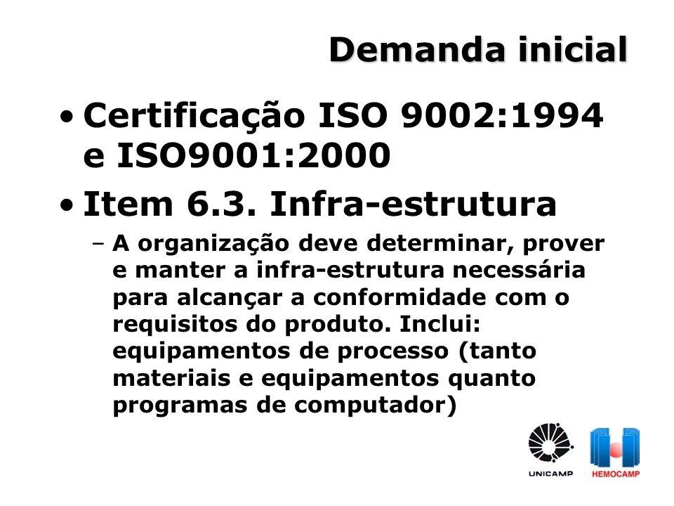 Certificação ISO 9002:1994 e ISO9001:2000 Item 6.3. Infra-estrutura