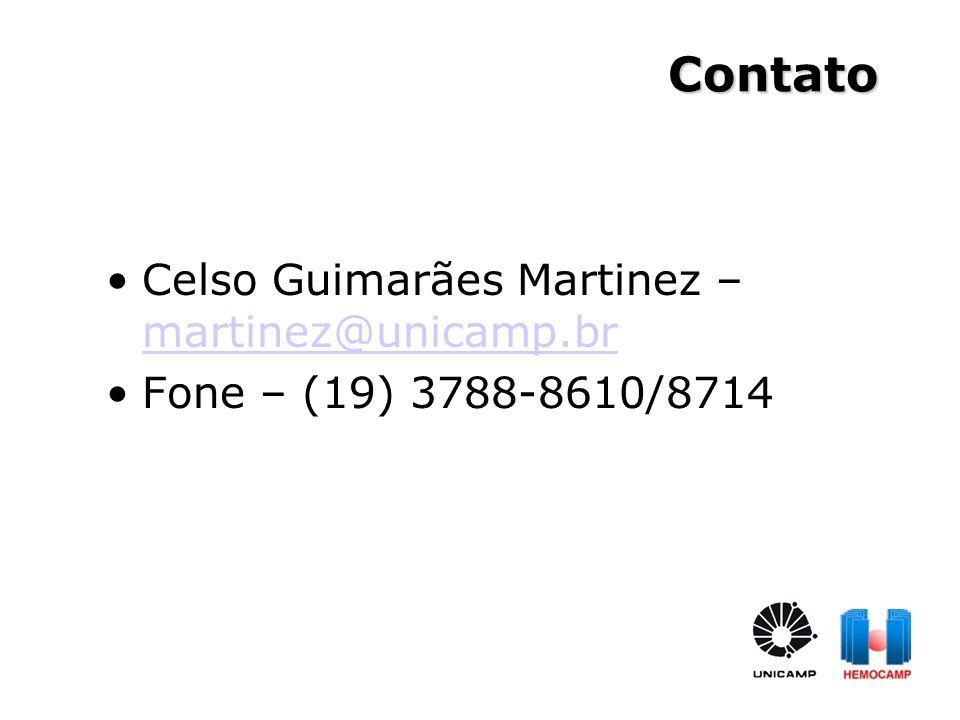 Contato Celso Guimarães Martinez – martinez@unicamp.br