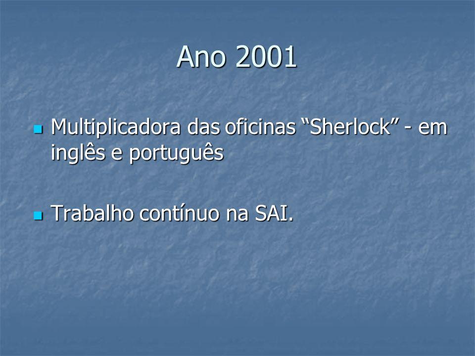 Ano 2001 Multiplicadora das oficinas Sherlock - em inglês e português Trabalho contínuo na SAI.