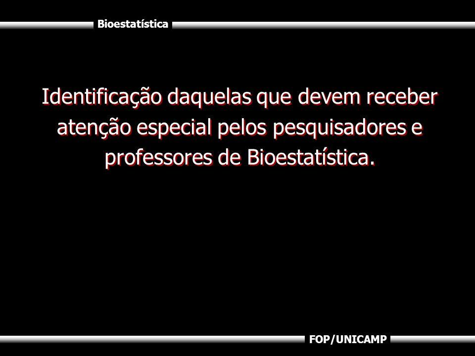 Identificação daquelas que devem receber atenção especial pelos pesquisadores e professores de Bioestatística.