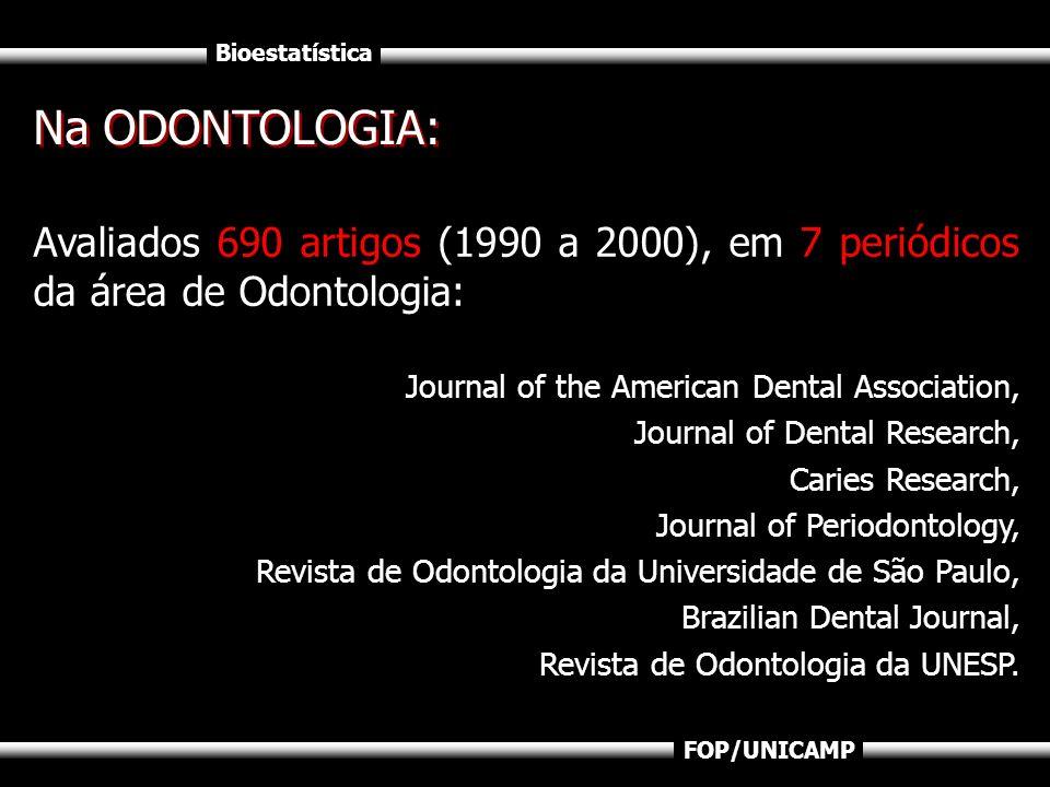 Na ODONTOLOGIA:Avaliados 690 artigos (1990 a 2000), em 7 periódicos da área de Odontologia: Journal of the American Dental Association,