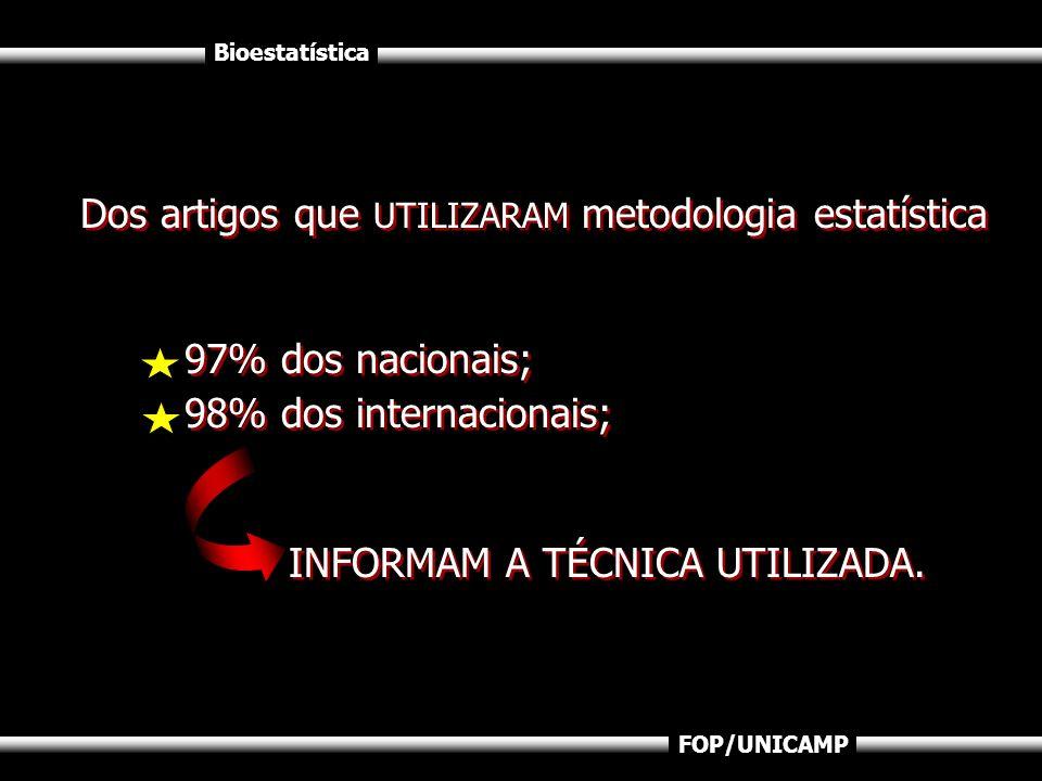 Dos artigos que UTILIZARAM metodologia estatística